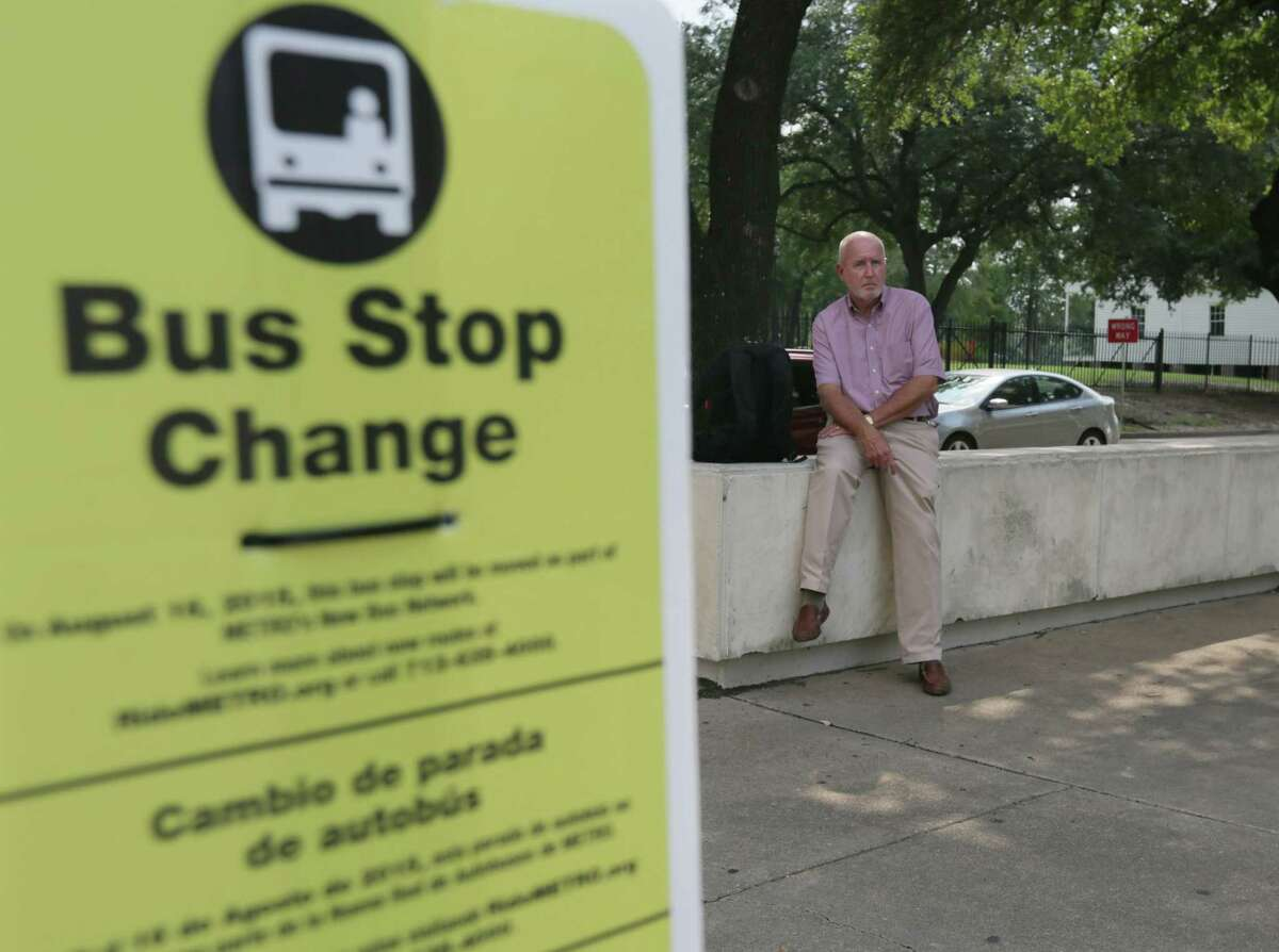 Jim Royall waits for the number 18 at McKinney Street and Bagby Street Thursday, Aug. 13, 2015, in Houston. Metro will do away with this route, and a few others, with the upcoming route changes scheduled to begin Sunday.
