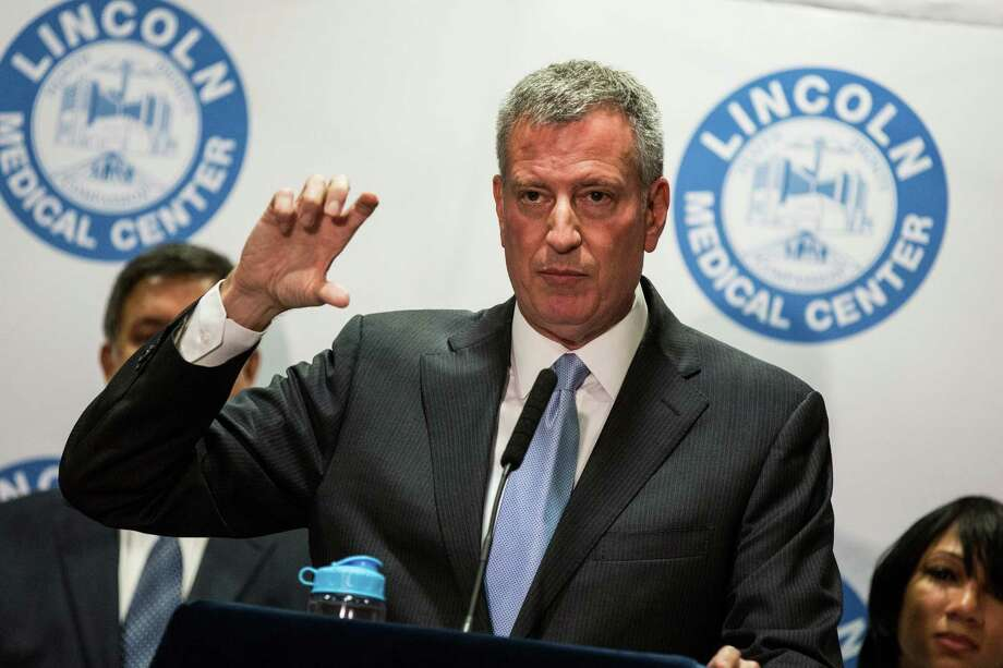 NEW YORK, NY - AUGUST 13:  New York City Mayor Bill de Blasio speaks at a press conference updating the public on the Legionnaires' outbreak in the Bronx at Lincoln Hospital on August 13, 2015 in the Bronx borough of New York City. The mayor said that while new cases of Legionnaires' may appear, the outbreak has been contained and that the water cooling towers the New York City Department of Health believe are responsible for the outbreak have been decontaminated.  (Photo by Andrew Burton/Getty Images) ORG XMIT: 570298441 Photo: Andrew Burton / 2015 Getty Images