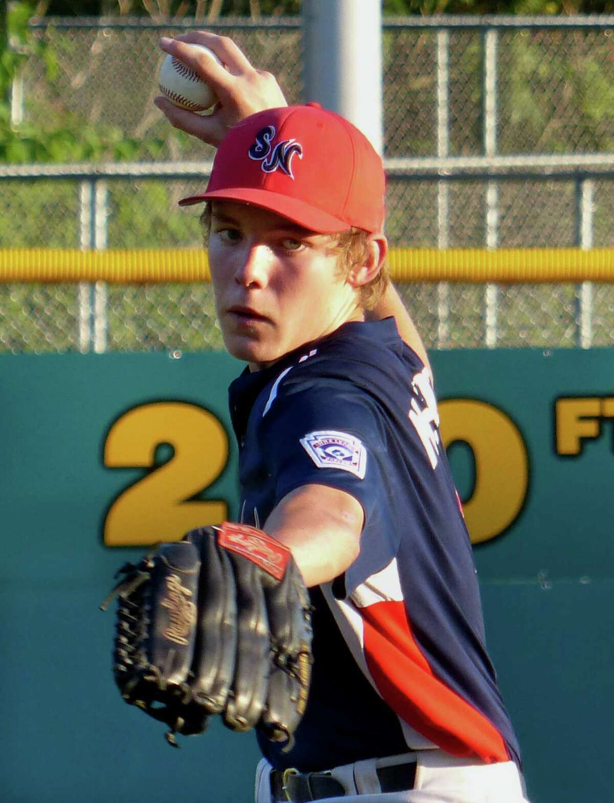 Stamford North's Calvin McKeever pitches against Southington in Newington July 29.