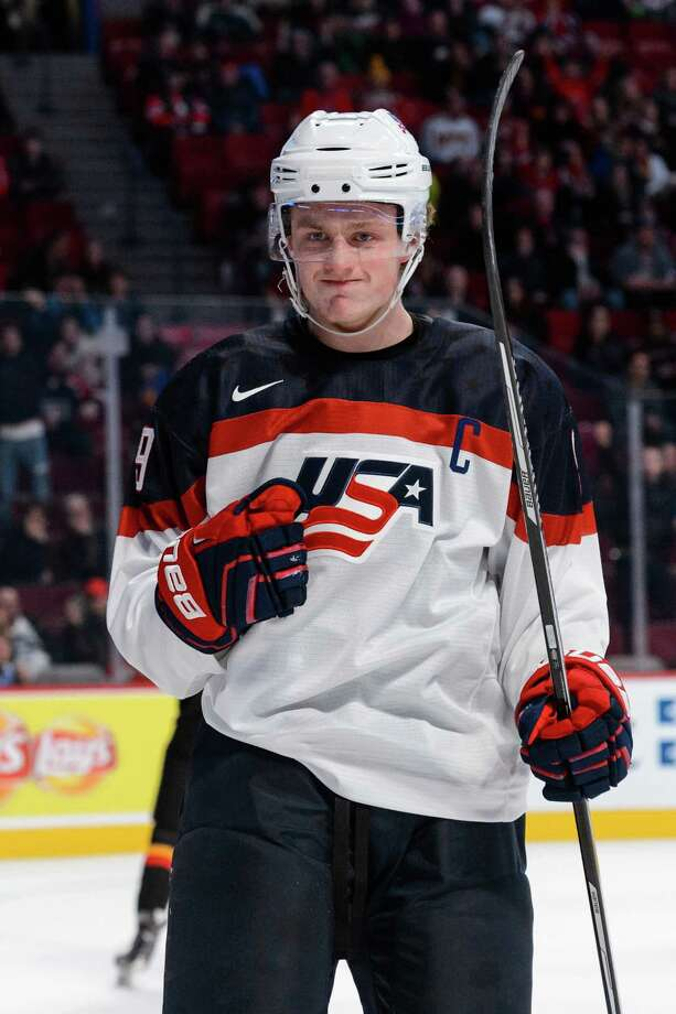 MONTREAL, QC - DECEMBER 28:  Jack Eichel #9 of Team United States celebrates his goal during the 2015 IIHF World Junior Hockey Championship game against Team Germany at the Bell Centre on December 28, 2014 in Montreal, Quebec, Canada.  Team United States defeated Team Germany 6-0.  (Photo by Minas Panagiotakis/Getty Images) ORG XMIT: 522142375 Photo: Minas Panagiotakis / 2014 Getty Images