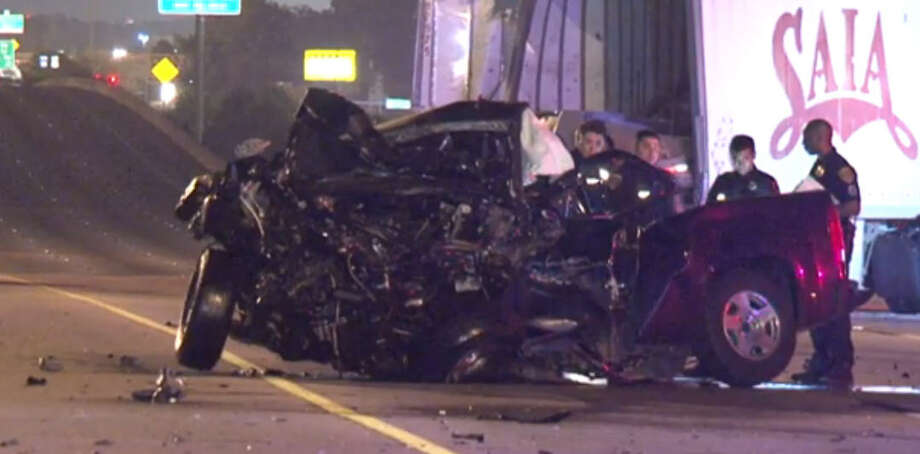 A wrong-way driver died early Friday morning after slamming into a big-rig on U.S. 59 in northeast Houston, forcing officials to shut down the freeway for hours. Photo: Metro Video