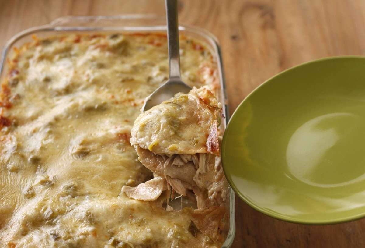 Green Chile Kitchen's Homestyle Green Chile Chicken Enchiladas Recipe via SFGate