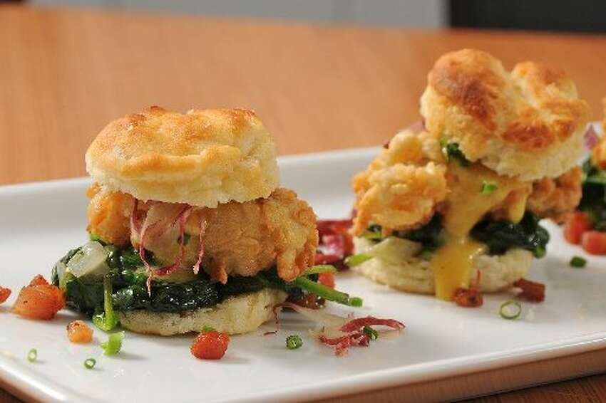 Bliss, 926 S. Presa St., foodisbliss.com, is serving a starter of chicken fried oyster sliders with spinach, applewood bacon, buttermilk biscuit and brown butter hollandaise.