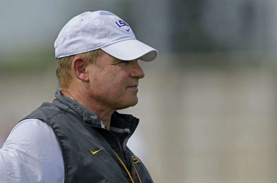 LSU head coach Les Miles watches during their NCAA college football practice in Baton Rouge, La., Friday, Aug. 7, 2015. Photo: Gerald Herbert /Associated Press / AP