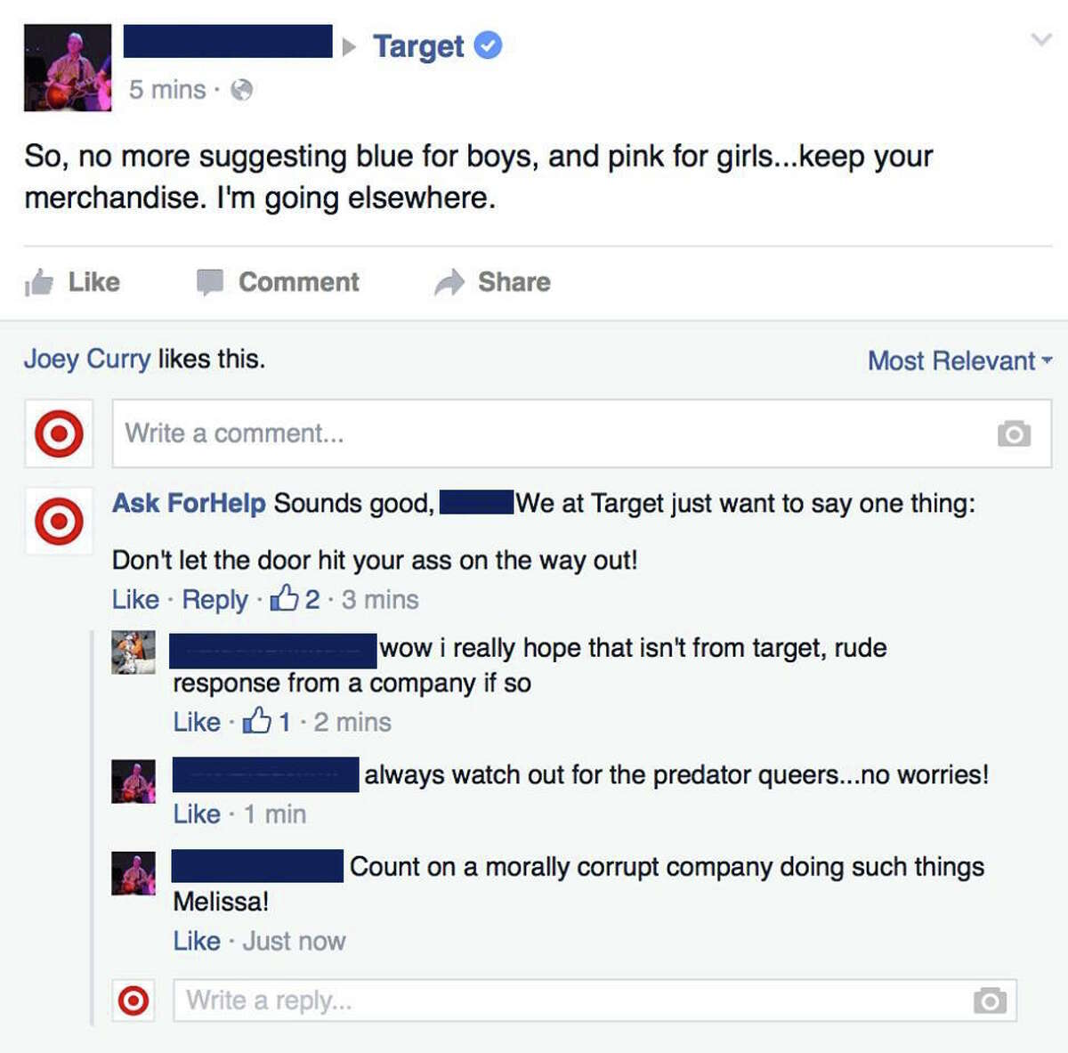 A man named Mike Melgaard posed as a fake customer service rep for Target and provided sarcastic responses to people's complaints about the company's decision to remove gender-based signs in stores.