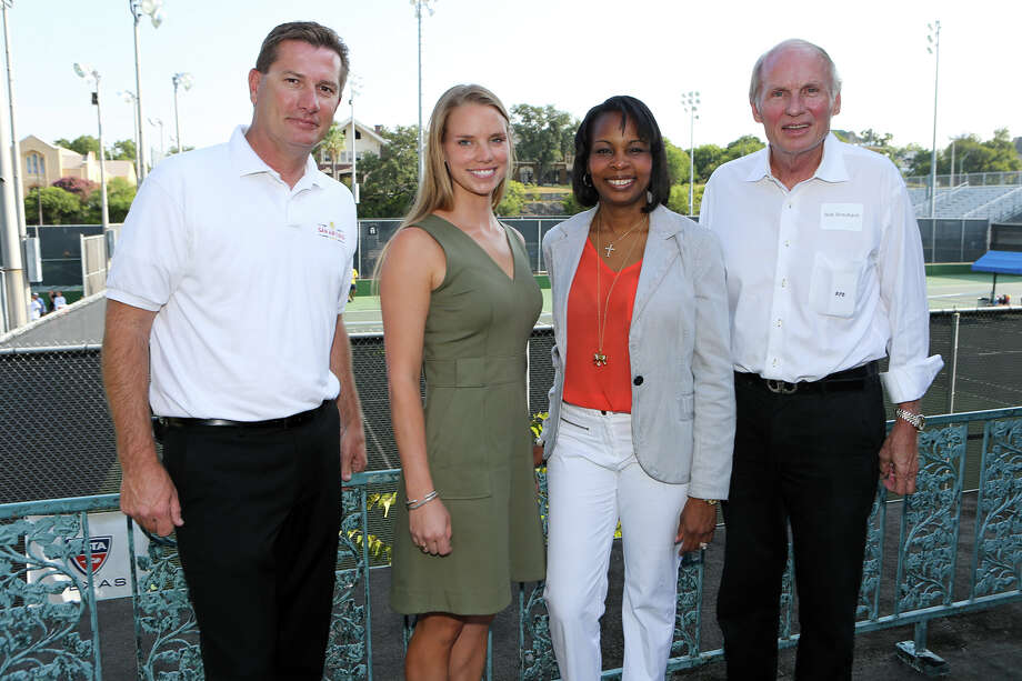 Tournament promoter Ben Goldsmith (from left), tournament director Taryn Adair, Mayor Ivy Taylor and McFarlin Tennis Foundation board member Bob Braubach during a press conference at McFarlin Tennis Center announcing the San Antonio Open, a Women's Tennis Association 125K Series pro tournment to be held there in March 13-19, 2016. Photo: Marvin Pfeiffer /San Antonio Express-News / Express-News 2015