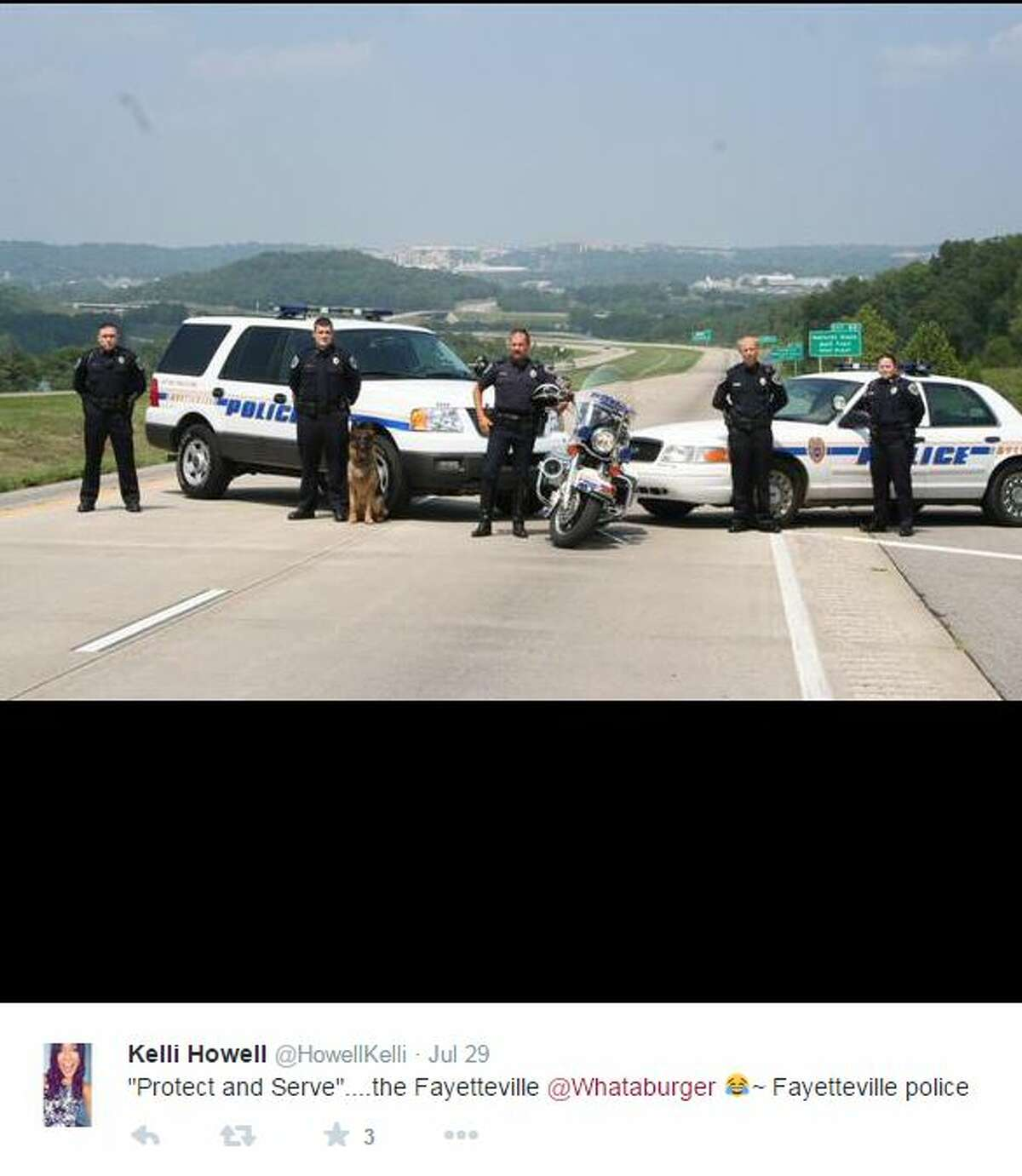 """""""Protect and Serve""""....the Fayetteville @Whataburger Fayetteville police,"""" @HowellKelli"""