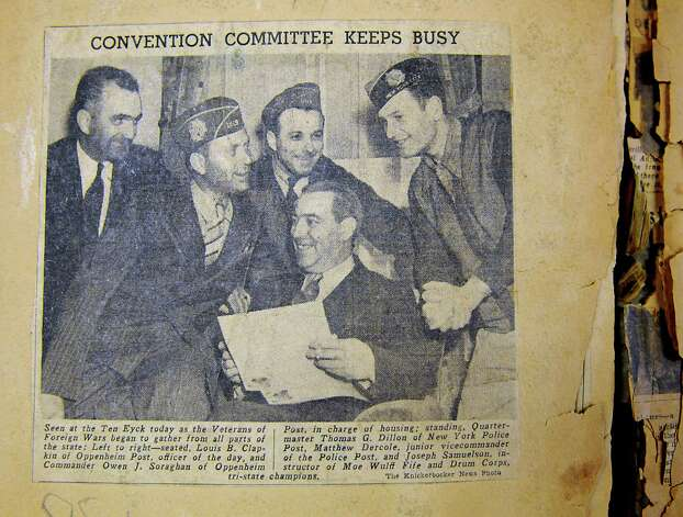 World War I veteran, Owen J. Soraghan, Sr., who served in the United States Army, is seen in an old Knickerbocker News clipping at Congressman Paul Tonko's office on Friday, Aug. 14, 2015 in Albany, N.Y. His son Owen J. Soraghan, Jr. accepted three awards in honor of his father which included the Purple Heart, World War I Victory Medal with Ypres-Lys and Somme Offensive Battle Clasps, and Belgium and France Service Clasps, and World War I Victory Button-Silver. (Lori Van Buren / Times Union) Photo: Lori Van Buren / 00032995A