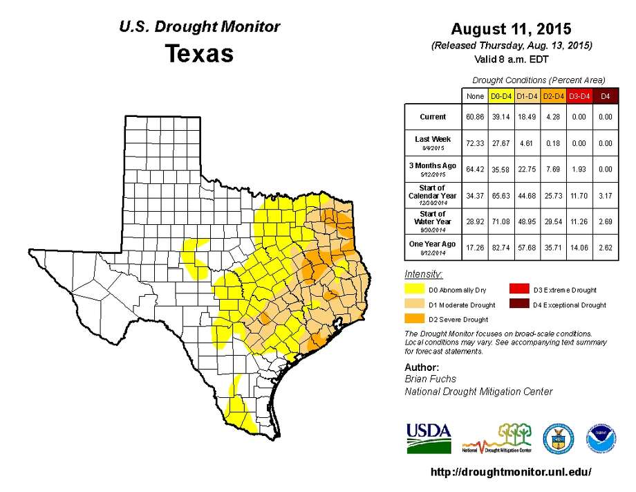 Katy is affected by a  drought conditions in the Houston region.Click to see Texas droughts: then and now Photo: U.S. Drought Monitor