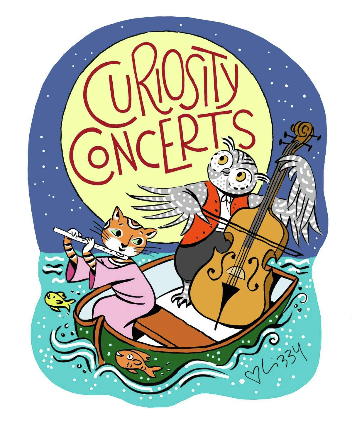 The illustration for Curiosity Concerts created by artist Lizzy Rockwell in the Old Greenwich studio of her parents, Anne and the late Harlow Rockwell.