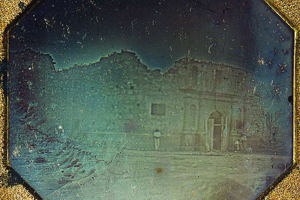 The 1849 daguerreotype is the earliest datable photograph taken in Texas. It shows the front of the Alamo chapel. It is the only known photograph of the Alamo taken before the 1850 reconstruction that added the distinctive curved gable to the top of the church facade.