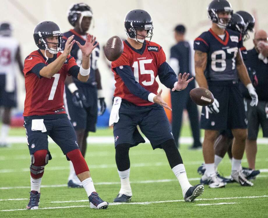 The longer the Texans' quarterback competition between Brian Hoyer (7) and Ryan Mallett (15) endures may be detrimental to the team.  ( Brett Coomer / Houston Chronicle ) Photo: Brett Coomer, Staff / © 2015 Houston Chronicle