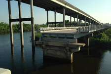 Bridge City Chamber of Commerce celebrates first swing of Cow Bayou Bridge since its $9.5 million repairs.
