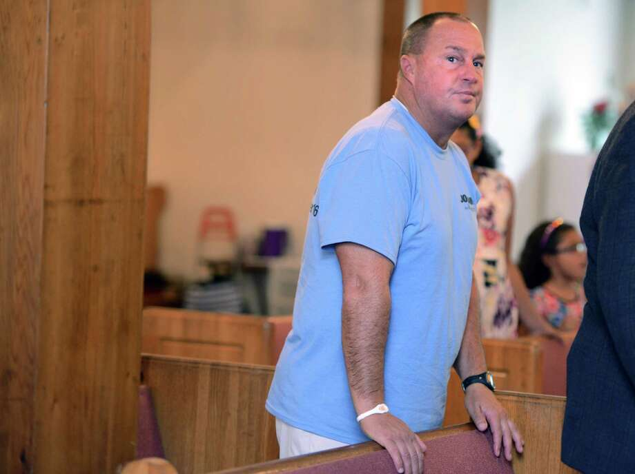 David Papandrea, a supporter of mayoral candidate and former Mayor Joe Ganim, attends a celebration of the 1965 Voting Rights Act Thursday, Aug. 6, 2015, at  East End Baptist Tabernacle Church in Bridgeport, Conn. Photo: Autumn Driscoll / Hearst Connecticut Media / Connecticut Post