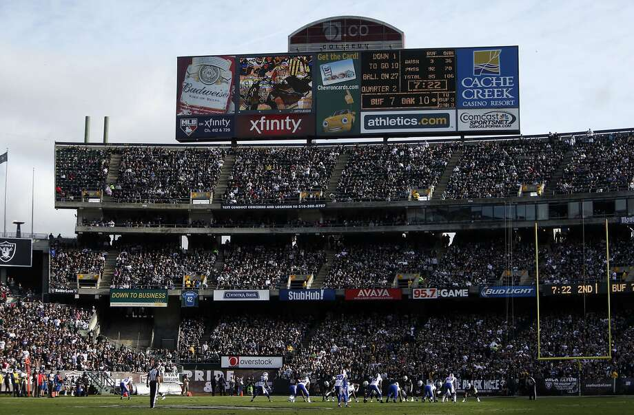 The aging Coliseum, where the Oakland Raiders play, was supposed to provide an economic benefit to the city. Photo: Scott Strazzante, The Chronicle