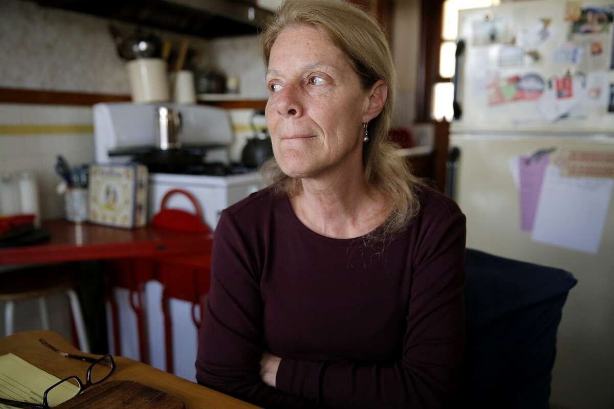 Theresa Flandrich, 60, in her house in the North Beach neighborhood of San Francisco, California, on Friday, Aug. 14, 2015.
