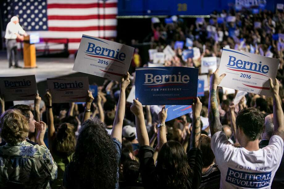 Presidential hopeful Bernie Sanders has been treated like a rock star at huge campaign rallies like this one in L.A. on Monday. Sanders, a socialist, is drawing comparisons to a cand idate on the other end of the political spectrum, Donald Trump. Photo: Marcus Yam, McClatchy-Tribune News Service