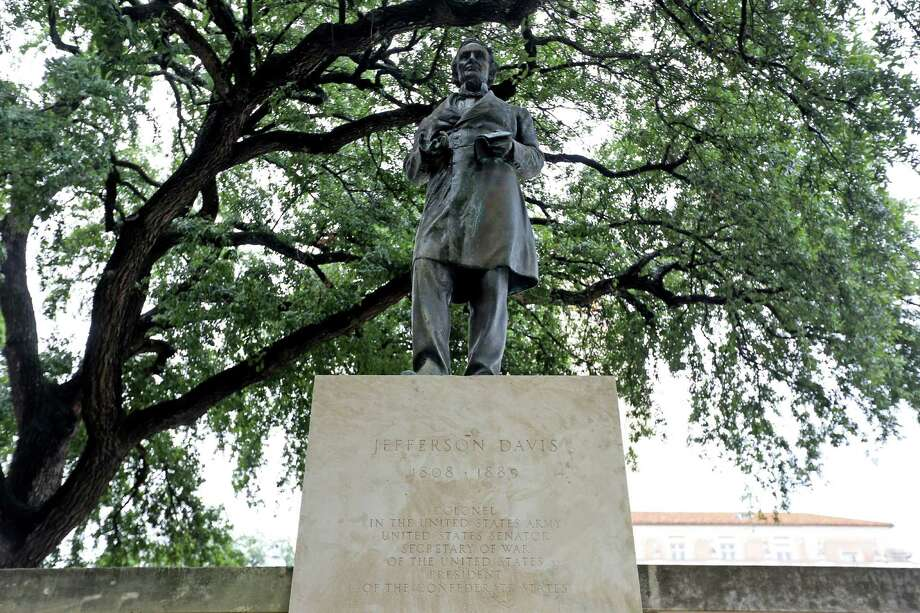This statue of Confderate President Jefferson Davis has stood on UT's main campus mall for decades. Photo: Gary Coronado, Staff / © 2015 Houston Chronicle