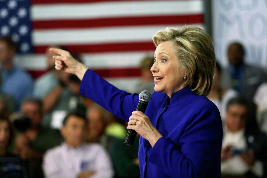 Democratic presidential candidate Hillary Rodham Clinton speaks during a campaign stop at River Valley Community College Tuesday, Aug. 11, 2015, in Claremont, N.H. (AP Photo/Jim Cole) ORG XMIT: NHJC107 Photo: Jim Cole / AP