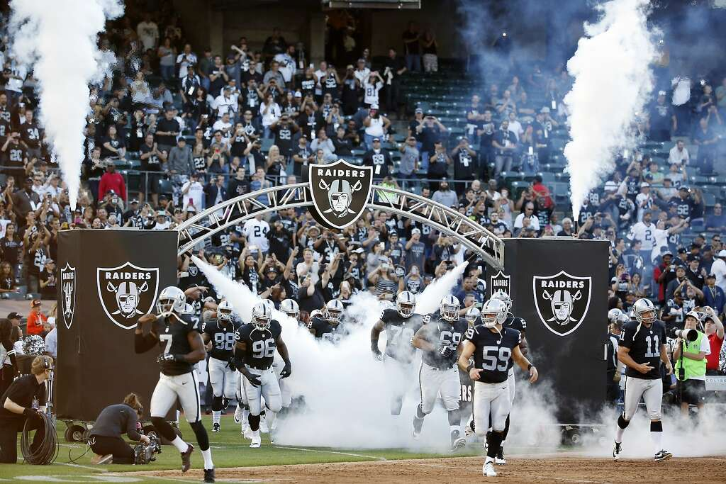 Oakland Raiders players are introduced before an NFL preseason football game against the St. Louis Rams in Oakland, Calif., Friday, Aug. 14, 2015. (AP Photo/Tony Avelar) Photo: Tony Avelar, Associated Press