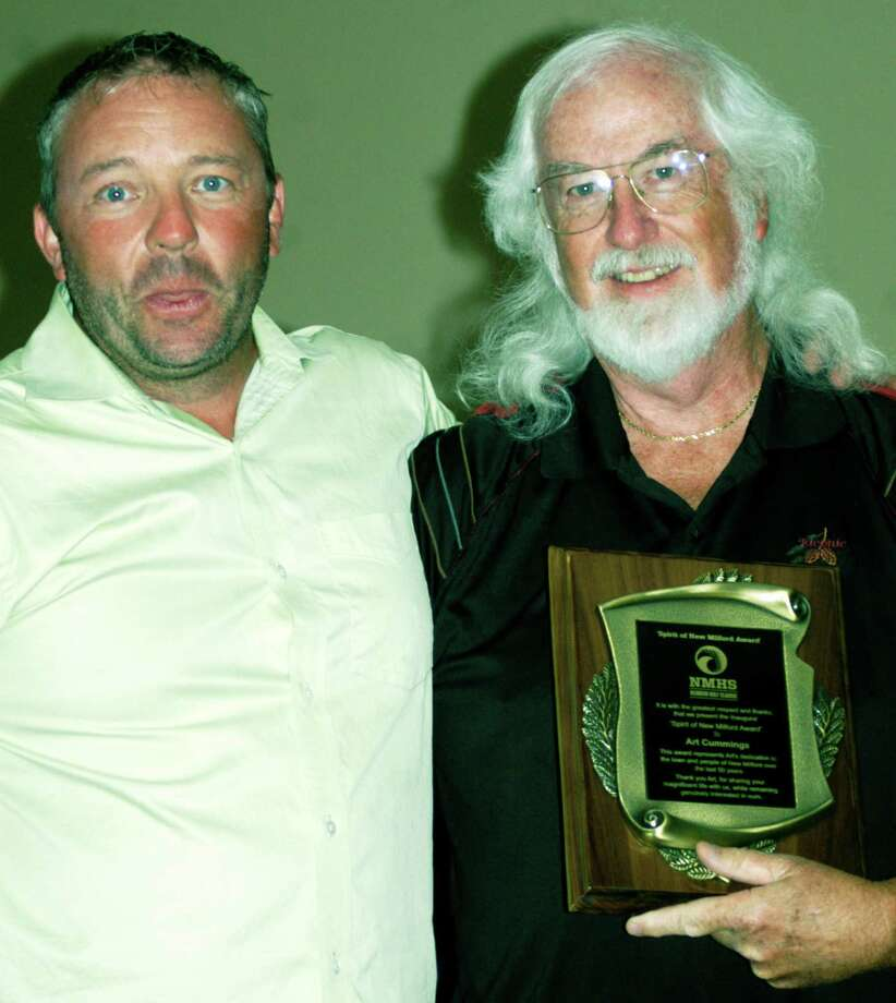 "Steve Byrne, left, director of the New Miilford High School Reunion Classic golf tournament, poses with Art Cummings, the event's inaugural ""Spirit of New Milford"" award recipient in tribute to his longtime community contributions. Photo: Norm Cummings / Norm Cummings / The News-Times"
