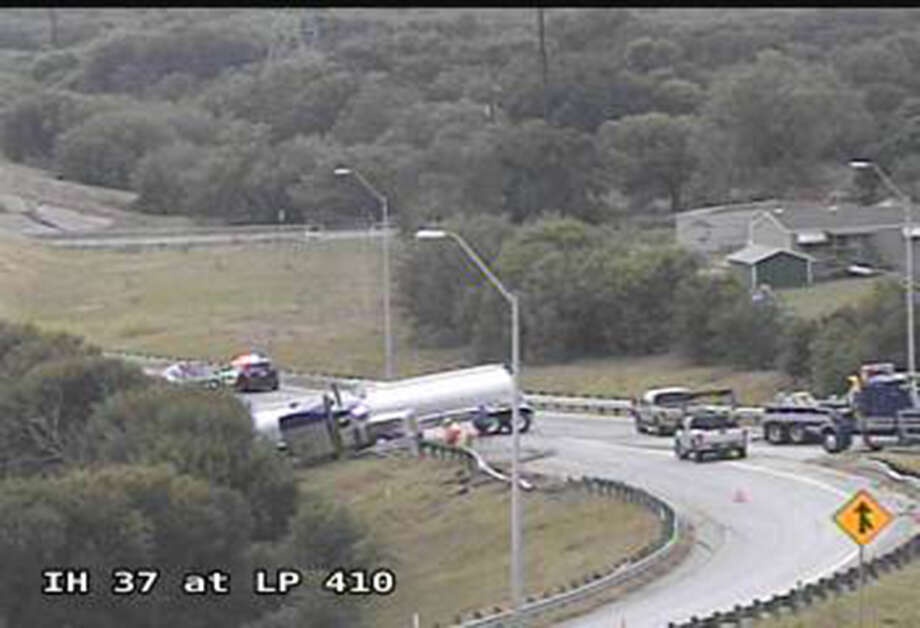 A jackknifed 18-wheeler on west bound Loop 410 and Interstate 37 has caused the closure of three ramps. Photo: Courtesy Texas Department Of Transportation