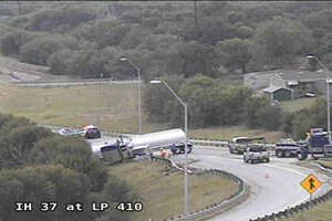 A jackknifed 18-wheeler on west bound Loop 410 and Interstate 37 has caused the closure of three ramps.