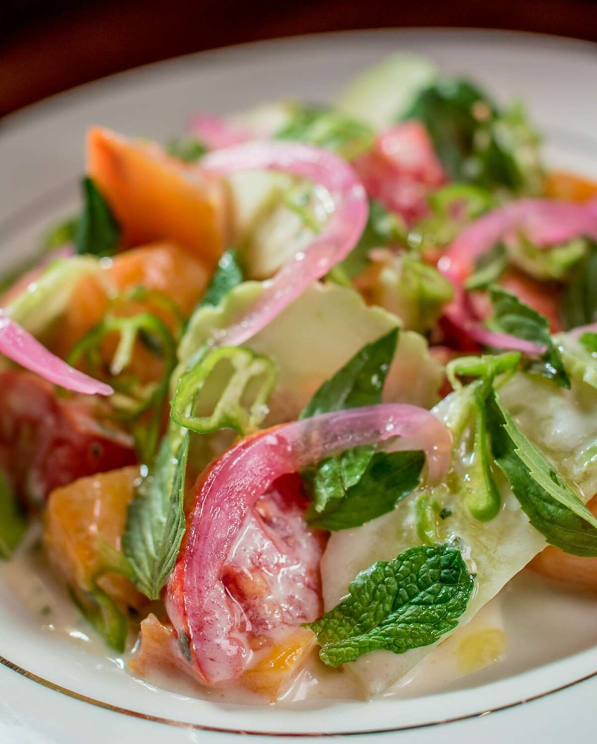 The Tomato Salad at the Viking Room in San Francisco, Calif., is seen on August 14th, 2015.