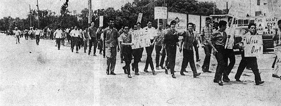 1. Edgewood and Lanier High School student walk outs. (1968) About 400 students marched on 34th Street from Edgewood High School to the district's main office on May 16, 1968, seen in this photo that appeared in the Express-News the next morning. It was the most dramatic of several local efforts that spring to change public expectations for Mexican-American students — and improve the curriculum, resources and facilities that went along with those expectations. Plans for a similar walkout at Lanier High School were shelved weeks earlier when a series of community meetings brought concessions. Photo: Express-News File Photo