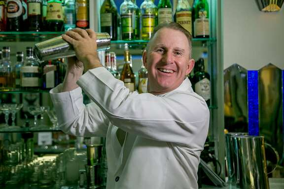 Bartender Tim Stookey makes the Twentieth Century cocktail at Club Moderne in San Francisco, Calif., is seen on August 14th, 2015.
