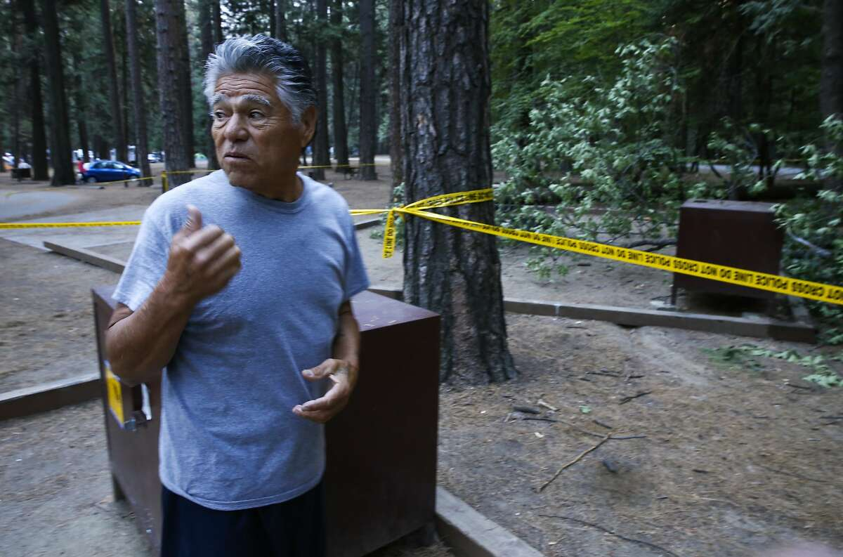 Art Tuledo of San Diego found out about the accident just this morning and came over from his campground to check it out, at the Upper Pines campground in Yosemite National Park, Calif., on Sat. August 15, 2015, a day after an oak tree branch fell onto a tent with two children sleeping inside killing them.