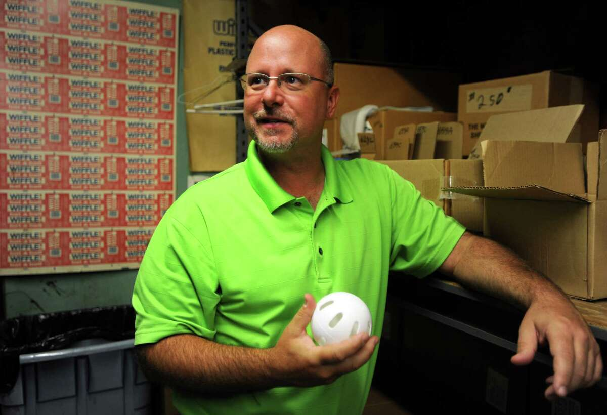 David Mullany at The Wiffle Ball, Inc. factory in Shelton, Conn. Wednesday, Aug. 12, 2015. The business was founded by Mullany's grandfather in 1953.