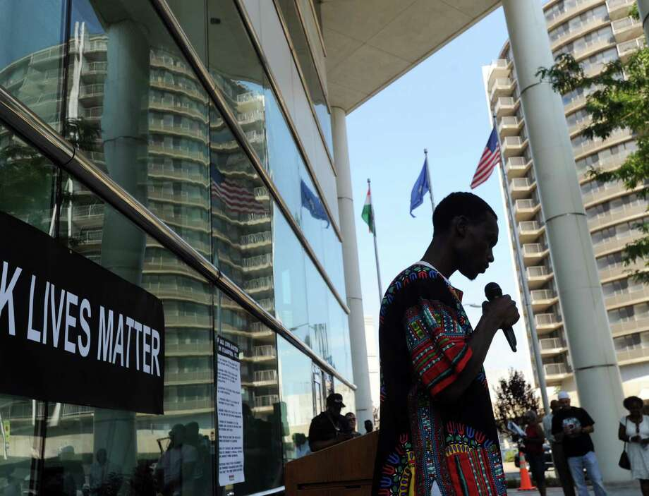 """Stamford rapper Tavonn Watson performs during the """"Black Lives Matter"""" community rally in front of the Stamford Government Center, Stamford, Conn., Saturday, Aug. 15, 2015. Photo: Bob Luckey Jr. / Hearst Connecticut Media / Greenwich Time"""