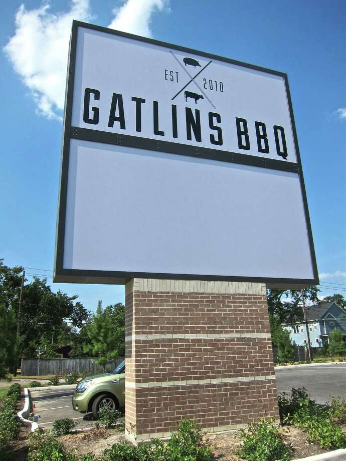 The towering new Gatlin's BBQ sign outside their soon-to-open location at 3510 Ella Boulevard. Photo: Alison Cook