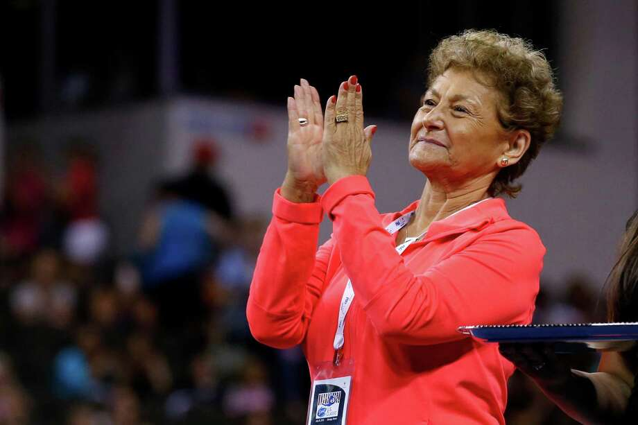 Gymnastics coach Martha Karolyi claps during the medal ceremony after the Secret U.S. Classic gymnastics competition Saturday, July 25, 2015, in Hoffman Estates, Ill. (AP Photo/Andrew A. Nelles) Photo: Andrew Nelles, FRE / FR170974 AP
