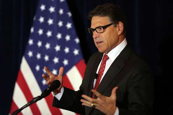 """Former Gov. Rick Perry, shown at the Yale Club in New York last month, vowed his presidential campaign will be """"back on track"""" after a series of setbacks."""