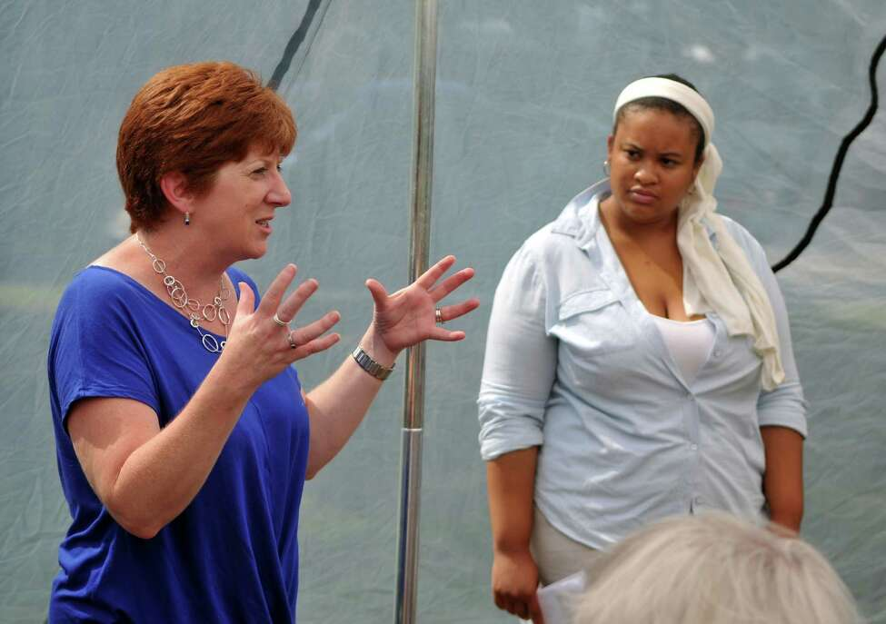 Albany Mayor Kathy Sheehan, left, talks about the history of Rapp Road on Saturday, Aug 15, 2015, in Albany, N.Y. (Phoebe Sheehan/Special to The Times Union)