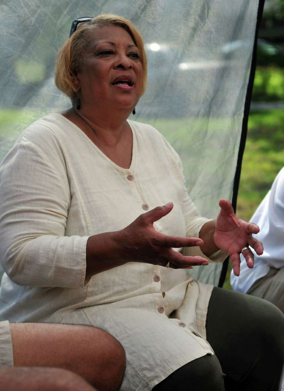 Beverly Bardequez talks about the history of Rapp Road on Saturday, Aug 15, 2015, in Albany, N.Y. (Phoebe Sheehan/Special to The Times Union)