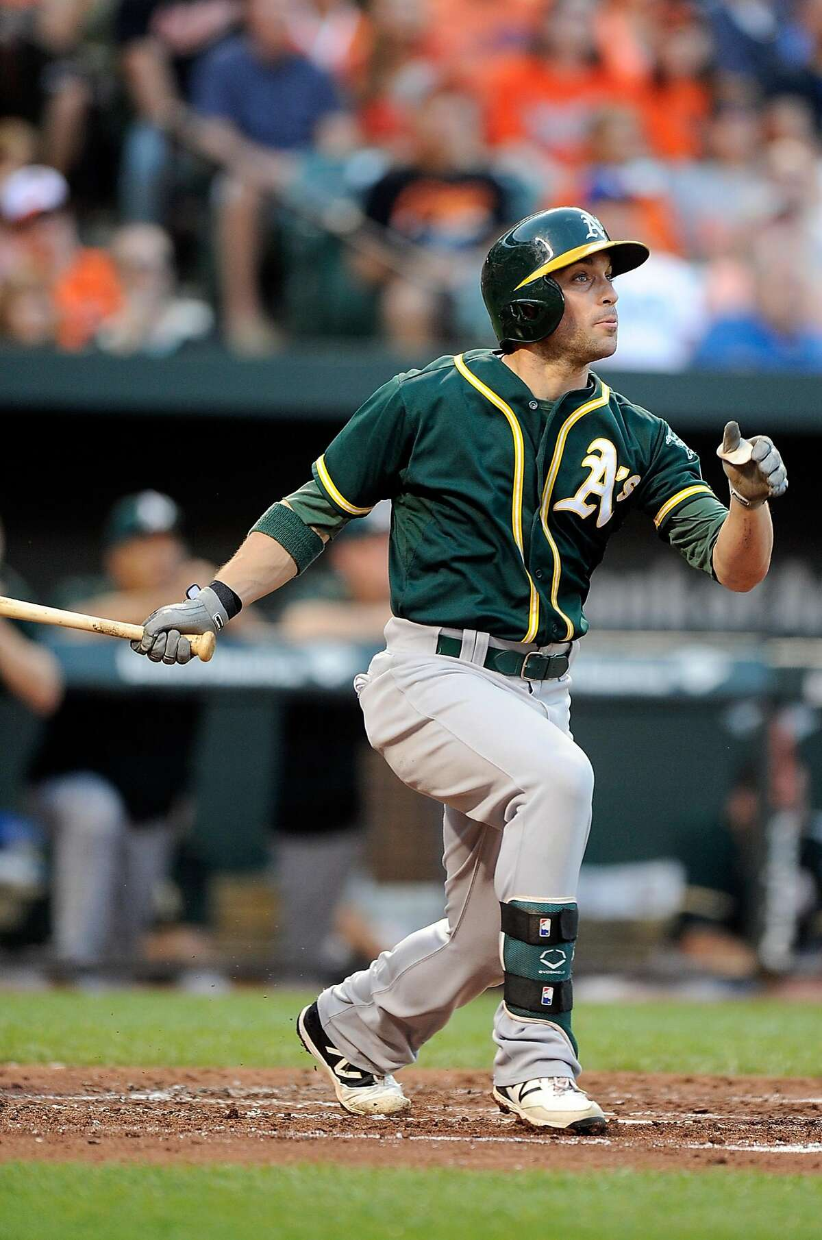 BALTIMORE, MD - AUGUST 15: Sam Fuld #23 of the Oakland Athletics hits a home run in the third inning against the Baltimore Orioles at Oriole Park at Camden Yards on August 15, 2015 in Baltimore, Maryland. (Photo by Greg Fiume/Getty Images)