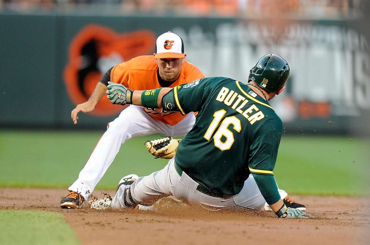 BALTIMORE, MD - AUGUST 15: Billy Butler #16 of the Oakland Athletics is tagged out at second base by J.J. Hardy #2 of the Baltimore Orioles in the third inning at Oriole Park at Camden Yards on August 15, 2015 in Baltimore, Maryland. (Photo by Greg Fiume/Getty Images)
