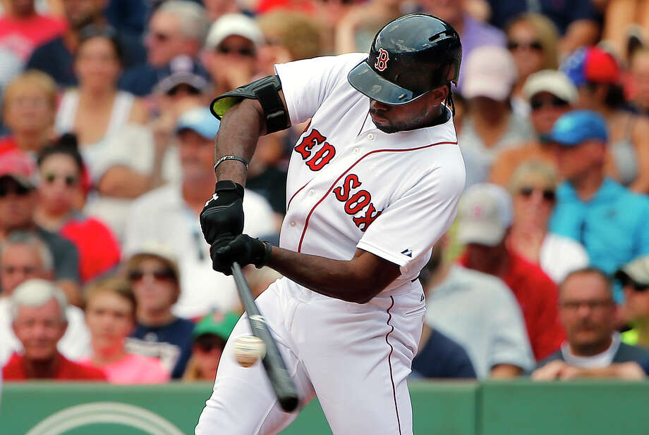 Boston Red Sox's Jackie Bradley Jr. connects on a two-run double against the Seattle Mariners during the seventh inning of a baseball game at Fenway Park in Boston Saturday, Aug. 15, 2015.(AP Photo/Winslow Townson) ORG XMIT: BXF111 Photo: Winslow Townson / FR170221 AP