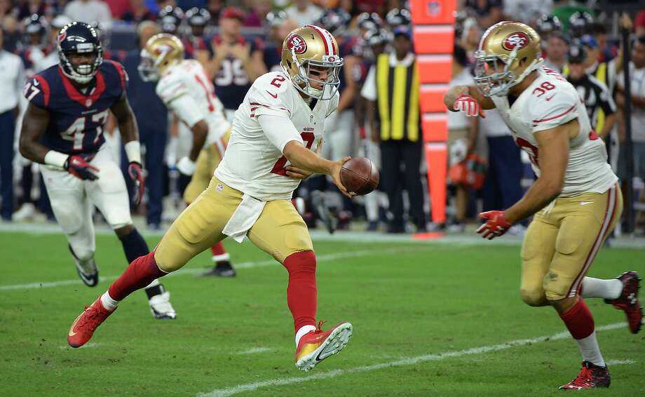 San Francisco 49ers' Blaine Gabbert (2) hands off to Jarryd Hayne (38) during the first half of an NFL preseason football game against the Houston Texans, Saturday, Aug. 15, 2015, in Houston. (AP Photo/George Bridges) Photo: George Bridges, Associated Press