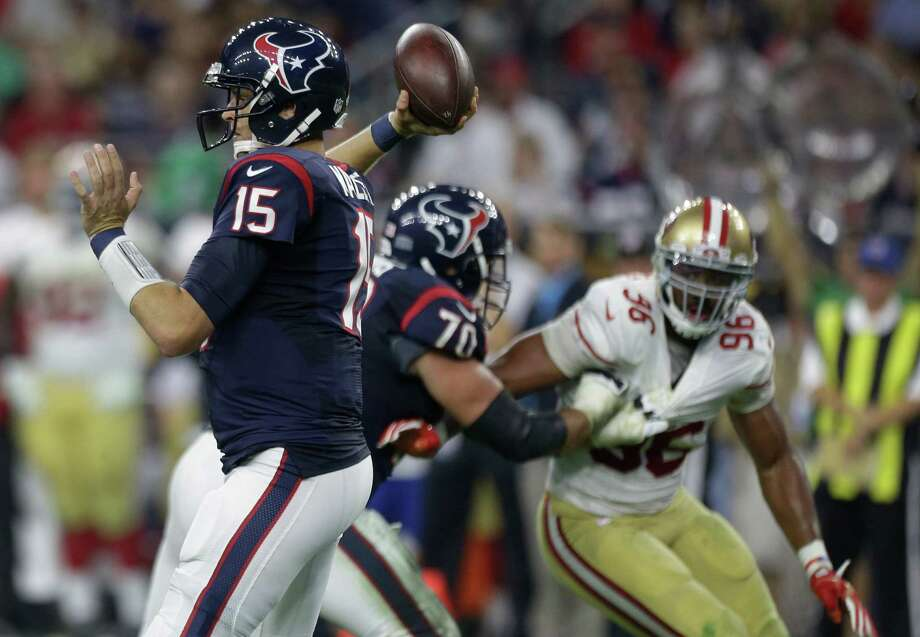 Texans quarterback Ryan Mallett (15) was 10-of-11 for 90 yards in relief of Brian Hoyer, but he couldn't get his team into the end zone. Photo: Brett Coomer, Staff / © 2015  Houston Chronicle