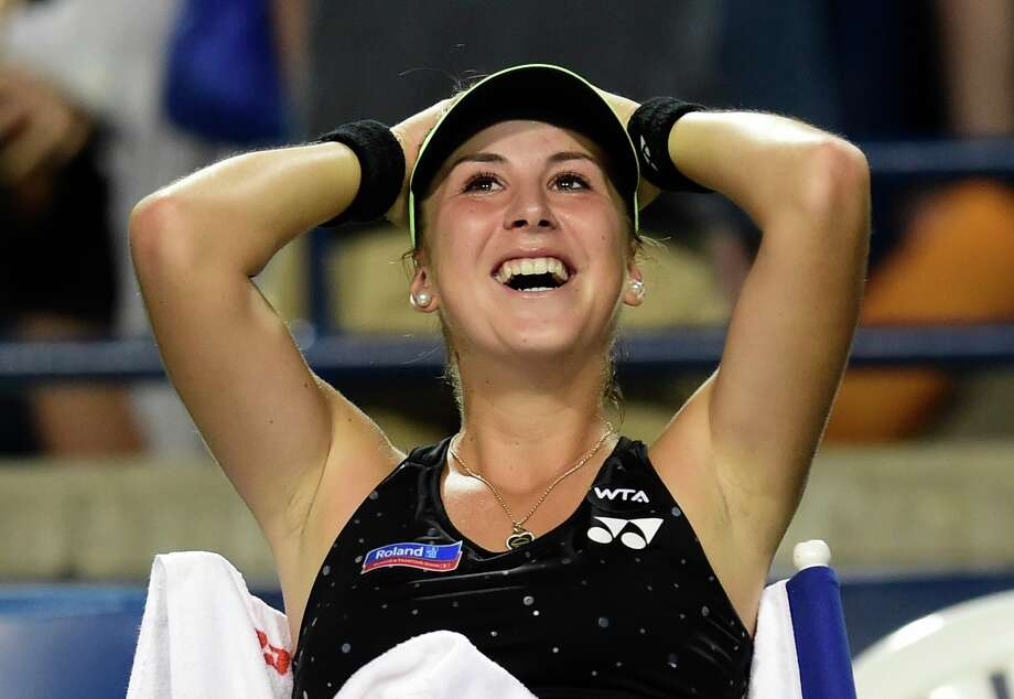 Belinda Bencic, an 18-year-old from Switzerland, is all smiles after defeating top-ranked Serena Williams in the Rogers Cup semifinals at Toronto. Photo: Frank Gunn, SUB / CP