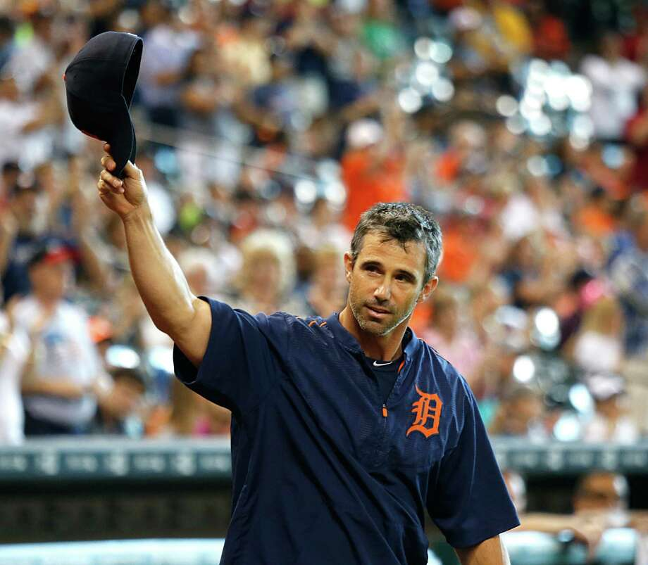 2005 National League Championship team member Brad Ausmus and current Detroit Tigers manager walks onto the field during Astros Legends Weekend celebration at Minute Maid Park Saturday, Aug. 15, 2015, in Houston. Photo: James Nielsen, Houston Chronicle / © 2015  Houston Chronicle