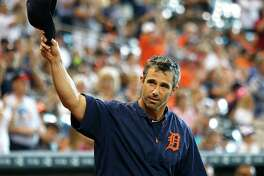 2005 National League Championship team member Brad Ausmus and current Detroit Tigers manager walks onto the field during Astros Legends Weekend celebration at Minute Maid Park Saturday, Aug. 15, 2015, in Houston.