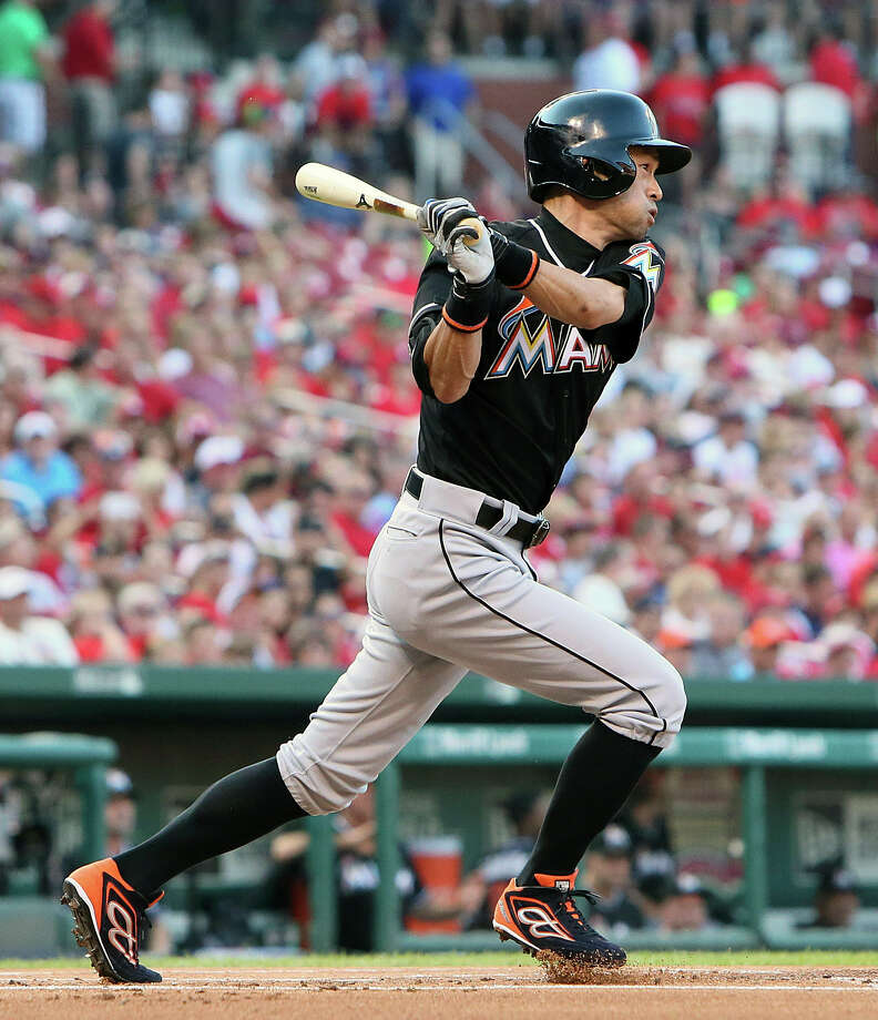 Miami Marlins' Ichiro Suzuki hits a single in the first inning of a baseball game against the St. Louis Cardinals, Saturday, Aug. 15, 2015 in St. Louis. (Chris Lee/St. Louis Post-Dispatch via AP)  EDWARDSVILLE INTELLIGENCER OUT; THE ALTON TELEGRAPH OUT; MANDATORY CREDIT ORG XMIT: MOSTP207 Photo: Chris Lee / St. Louis Post-Dispatch