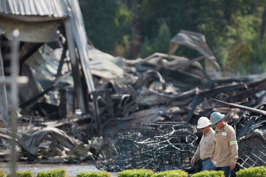 A 3-alarm fire consumed part of DrillChem, an oil industry supply company located in Conroe. The fire took place Friday, August 14, 2015 late in the afternoon. Saturday, Aug. 15, 2015, in Conroe. Photo: Marie D. De Jesus, Houston Chronicle / © 2015 Houston Chronicle