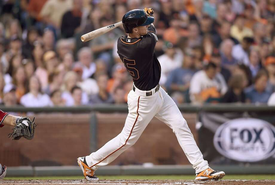 SAN FRANCISCO, CA - AUGUST 15:  Matt Duffy #5 of the San Francisco Giants hits a bases loaded three-run RBI double against the Washington Nationals in the bottom of the third inning at AT&T Park on August 15, 2015 in San Francisco, California.  (Photo by Thearon W. Henderson/Getty Images) Photo: Thearon W. Henderson, Getty Images