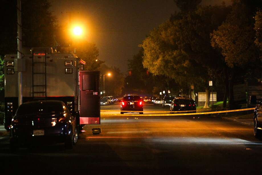 Officers block off San Aleso Avenue in Sunnyvale, where a police officer shot and killed a suspect Saturday evening, Aug. 15, 2015. Photo: Gabrielle Lurie, Special To The Chronicle